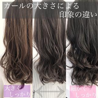 暗髪 ゆるふわパーマ デジタルパーマ ヘアスタイル ヘアスタイルや髪型の写真・画像