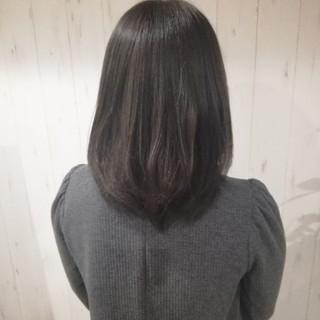 暗髪 ミディアム 就活 アッシュ ヘアスタイルや髪型の写真・画像