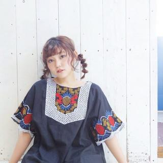 ミディアム 簡単ヘアアレンジ 春スタイル ヘアアレンジ ヘアスタイルや髪型の写真・画像