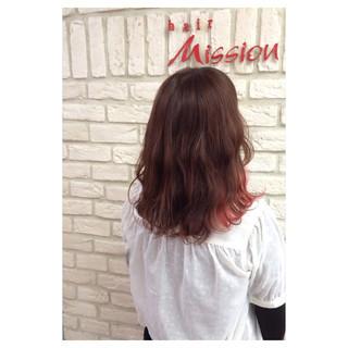ピンク ゆるふわ ミディアム グラデーションカラー ヘアスタイルや髪型の写真・画像