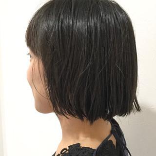 ボブ 黒髪 簡単 ナチュラル ヘアスタイルや髪型の写真・画像