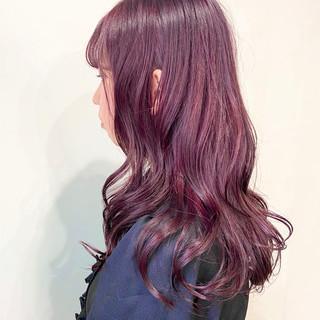 ロング ピンク ストリート ラベンダーピンク ヘアスタイルや髪型の写真・画像