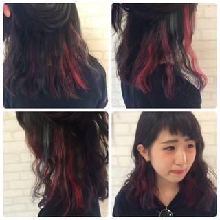 レッド インナーカラー ガーリー フェミニン ヘアスタイルや髪型の写真・画像 ヘアスタイルや髪型の写真・画像