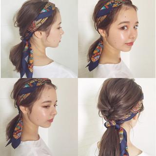 冬 ラフ ヘアアレンジ 外国人風 ヘアスタイルや髪型の写真・画像