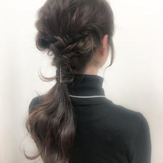 簡単ヘアアレンジ ロング ブラウン 暗髪 ヘアスタイルや髪型の写真・画像
