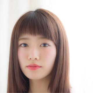 ワイドバング ミディアム 暗髪 ガーリー ヘアスタイルや髪型の写真・画像