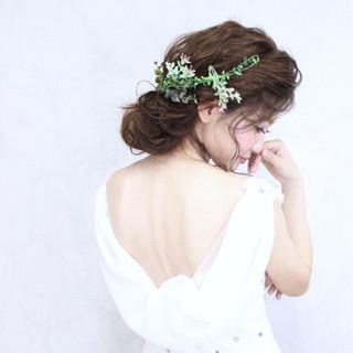 結婚式 ヘアアレンジ 花嫁 ブライダル ヘアスタイルや髪型の写真・画像