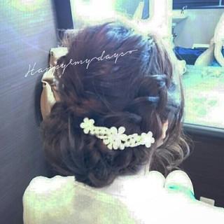 ブライダル セミロング 編み込み 結婚式 ヘアスタイルや髪型の写真・画像