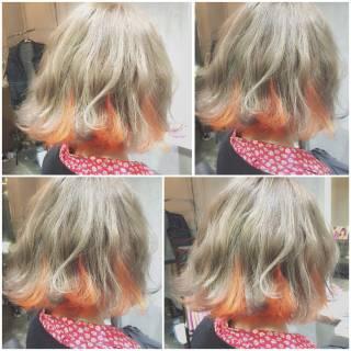 ゆるふわ フェミニン ボブ グラデーションカラー ヘアスタイルや髪型の写真・画像