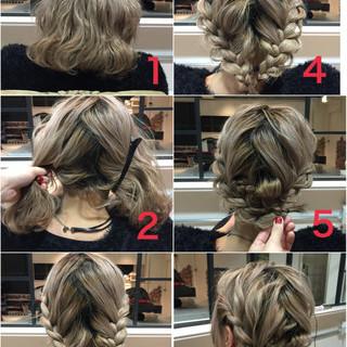 ブリーチ 簡単ヘアアレンジ ヘアアレンジ ボブ ヘアスタイルや髪型の写真・画像