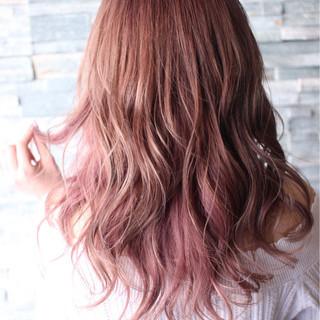 ナチュラル ピンク セミロング ベージュ ヘアスタイルや髪型の写真・画像