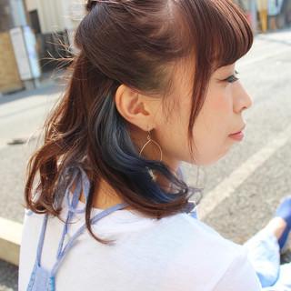 アッシュ 簡単ヘアアレンジ ストリート ミディアム ヘアスタイルや髪型の写真・画像