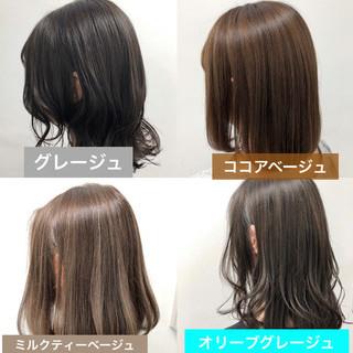 ヘアカラー ミルクティーベージュ ボブ 外国人風カラー ヘアスタイルや髪型の写真・画像