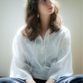 ゆるふわ セミロング パーマ 前髪パーマ ヘアスタイルや髪型の写真・画像