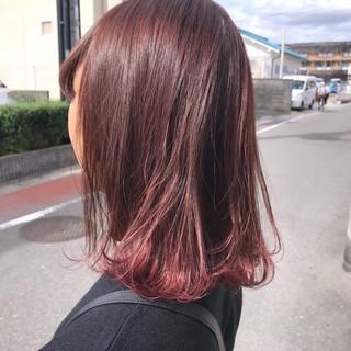 外国人風カラー グラデーションカラー ピンク ミディアム ヘアスタイルや髪型の写真・画像