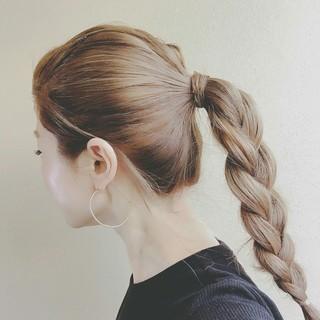 ハイライト ヘアアレンジ ポニーテール 透明感 ヘアスタイルや髪型の写真・画像
