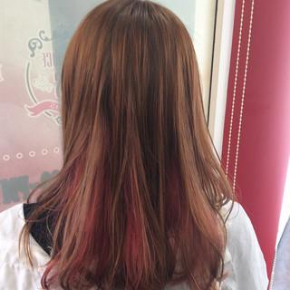 ガーリー #インナーカラー ダブルカラー セミロング ヘアスタイルや髪型の写真・画像