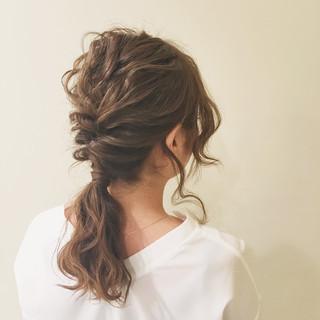 ゆるふわ ポニーテール フェミニン ミディアム ヘアスタイルや髪型の写真・画像 ヘアスタイルや髪型の写真・画像