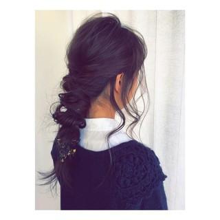 ヘアアレンジ ガーリー ウェーブ セミロング ヘアスタイルや髪型の写真・画像 ヘアスタイルや髪型の写真・画像