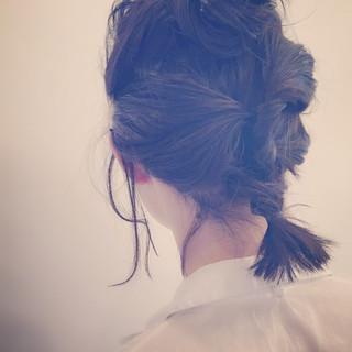 ねじり 編み込み ショート ボブ ヘアスタイルや髪型の写真・画像