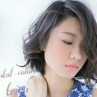 外国人風カラー モード グレージュ 外国人風 ヘアスタイルや髪型の写真・画像