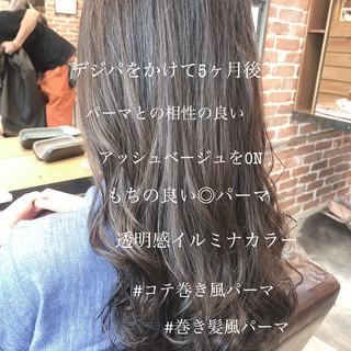 デジタルパーマ グレージュ ゆるふわ パーマ ヘアスタイルや髪型の写真・画像