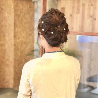 ミディアム 編み込みヘア 結婚式 ナチュラル ヘアスタイルや髪型の写真・画像