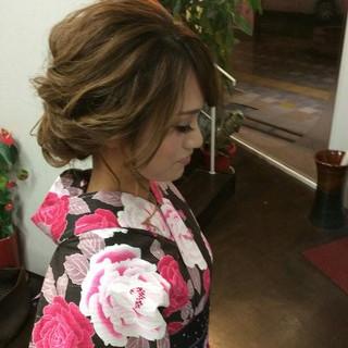 ミディアム 着物 和装 ナチュラル ヘアスタイルや髪型の写真・画像 ヘアスタイルや髪型の写真・画像