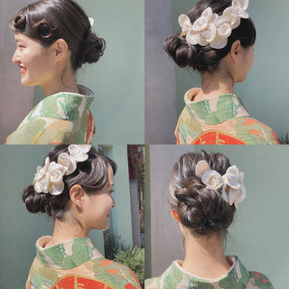 セミロング 結婚式 ゆるふわ ガーリー ヘアスタイルや髪型の写真・画像