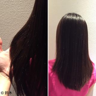 アッシュ セミロング ネイビー 暗髪 ヘアスタイルや髪型の写真・画像