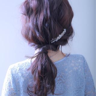 ローポニーテール デート オフィス 女子会 ヘアスタイルや髪型の写真・画像