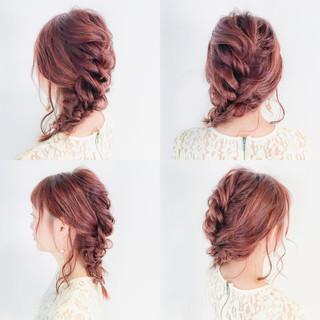 デート まとめ髪 大人かわいい 編み込み ヘアスタイルや髪型の写真・画像