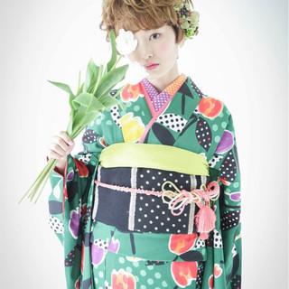 花火大会 ガーリー 和装 ショート ヘアスタイルや髪型の写真・画像