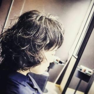パーマ モード ボブ ショート ヘアスタイルや髪型の写真・画像
