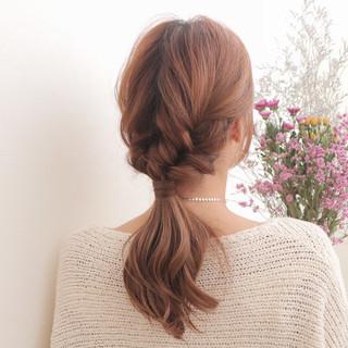 ショート こなれ感 ポニーテール 三つ編み ヘアスタイルや髪型の写真・画像 ヘアスタイルや髪型の写真・画像