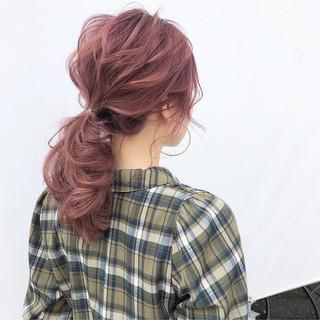 フェミニン セミロング デート ポニーテール ヘアスタイルや髪型の写真・画像 ヘアスタイルや髪型の写真・画像