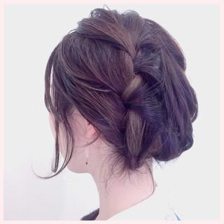 編み込み ショート 大人かわいい 簡単ヘアアレンジ ヘアスタイルや髪型の写真・画像