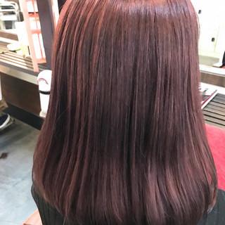 ナチュラル セミロング ミルクティー ピンク ヘアスタイルや髪型の写真・画像
