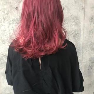 レッド アンニュイ ナチュラル セミロング ヘアスタイルや髪型の写真・画像
