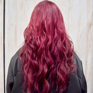 ボルドー カシスレッド ピンク ロング ヘアスタイルや髪型の写真・画像