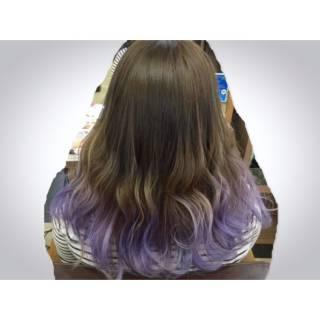 ラベンダー ストリート セミロング ガーリー ヘアスタイルや髪型の写真・画像