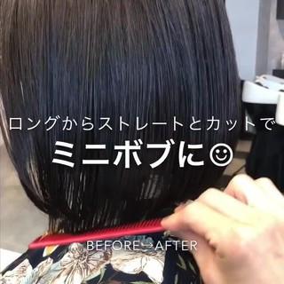 ストレート ミニボブ 縮毛矯正 ナチュラル ヘアスタイルや髪型の写真・画像