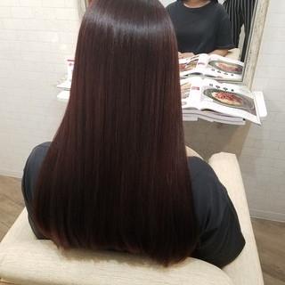 艶髪 ロング ラベンダーピンク 縮毛矯正 ヘアスタイルや髪型の写真・画像