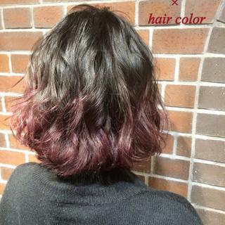 アッシュ ボブ グラデーションカラー ハイライト ヘアスタイルや髪型の写真・画像