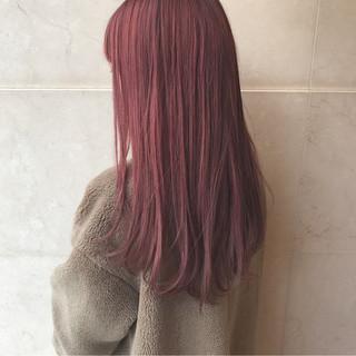 ピンクアッシュ ロング パープル レッド ヘアスタイルや髪型の写真・画像