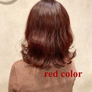 ラベンダーアッシュ ボブ レッドカラー カシスレッド ヘアスタイルや髪型の写真・画像