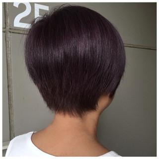 ナチュラル ピンクパープル ショート パープルアッシュ ヘアスタイルや髪型の写真・画像