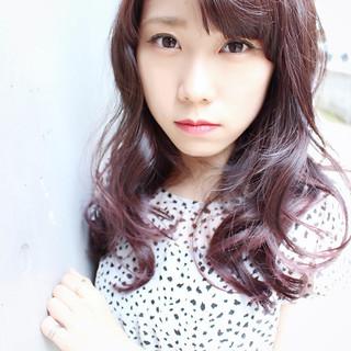 ピンク ロング グラデーションカラー パープル ヘアスタイルや髪型の写真・画像
