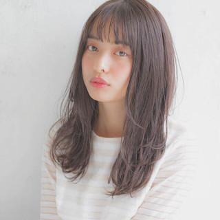 前髪あり 女子力 透明感 セミロング ヘアスタイルや髪型の写真・画像