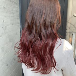 ガーリー 外国人風 外国人風カラー ピンクパープル ヘアスタイルや髪型の写真・画像